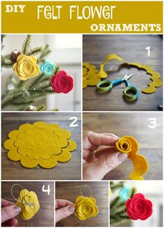DIY Felt Flower Ornament Tutorial : www.Adorable DIY Felt Flower Christmas Ornaments - The Magic OnionsFelt roses for the Christmas treemake felt lavenderCute flowers to put on a headband for the girls. Flower Ornaments, Diy Christmas Ornaments, Felt Christmas, Felt Ornaments, Christmas Headbands, Nativity Ornaments, Dough Ornaments, Homemade Christmas, Vintage Christmas