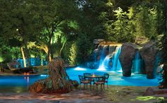 This other-worldly setting is part of a larger project that includes a number of pools, both indoor and out. Surrounded by towering waterfalls, magnificent boulders, and lush vegetation, the venue receives an extra boost of drama from carefully choreographed lighting. Photography by K.O. Rinearson