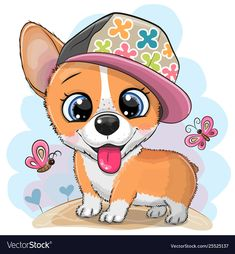 Cartoon Dog Corgi in a cap. Cute cartoon Dog Corgi in a cap on a meadow royalty free illustration Cartoon Whale, Cartoon Cartoon, Cute Cartoon Animals, Cute Animals, Cute Dog Pictures, Cute Images, Cartoon Drawing Images, Corgi Drawing, Disney Cartoon Characters