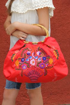 REd Huipil  Skye tote with a Bamboo Handle by CasaOtomi on Etsy, $122.00