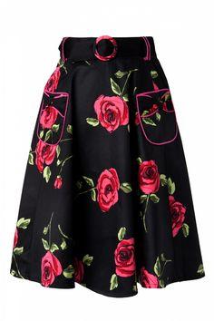 Vixen - Black Fuchsia Roses swing skirt