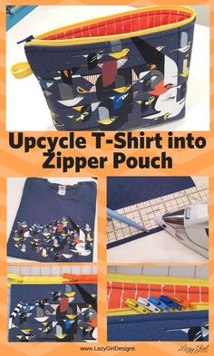 Diy Sewing Projects Turn a t-shirt into a zipper pouch. Upcycle a treasured t shirt into a useful zippered pouch with this easy DIY sewing project. Use your tshirt as a bag! Diy Sewing Projects, Sewing Projects For Beginners, Sewing Hacks, Sewing Tutorials, Sewing Tips, Leftover Fabric, Love Sewing, Sewing Patterns Free, Fabric Scraps