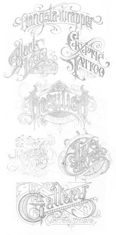 Martin Schmetzer – Logotypes vol. 3 - All About Tattoo Gothic Lettering, Chicano Lettering, Script Lettering, Graffiti Lettering, Vintage Typography, Graphic Design Typography, Lettering Design, Tattoo Name Fonts, Tattoo Fonts Alphabet