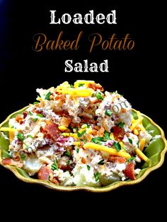 BAKED POTATO SALAD Ingredients 3 pds sm unpeeled red taters, cubed 1 pd sliced bacon, cooked/crumbled 2 c shred cheddar cheese 1 medonion, chop 3 c sour cream Instructions Place potatoes in greased baking pan; sprinkle with salt/pepper. Bake, uncovered, 425°  40-45 min or til tender. Let cook in pan. In lg bowl, combine potatoes, bacon, cheese, onion. Add sour cream,mix. Salt/pepper to taste.