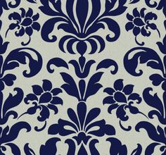 Large Damask Blue Silver Wallpaper