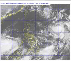 Tropical storm 'Meranti' can be seen from this Pagasa satellite photo swirling…