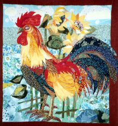 Fabric collage by Valentina Maksimova art quilt, rooster, fabric collag
