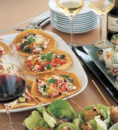 Bon Appétit - Crab, Chili, and Avocado Tostaditos These Mexican-inspired mini-tostadas are the perfect hors d'oeuvres for a cocktail or dinner party.