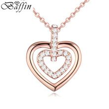 Fashion Heart Shaped Pendants Necklaces Crystals From Austria Rose Gold Plating Heart Romantic For Girlfriend Gifts(China (Mainland))