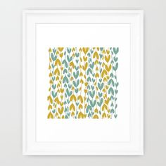 Yellow and Teal Leaves Framed Art Print by Jaymee - $40.00