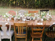 handcrafted mismatched backyard wedding - photo by Rachel Solomon Photography http://ruffledblog.com/handcrafted-mismatched-backyard-wedding