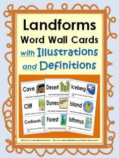 Landforms Word Wall Cards with Illustrations & Definitions
