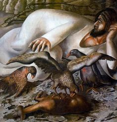 Stanley+Spencer+-+Christ+in+the+Wilderness+- Christ in the Wilderness - The Eagles 1943 Oil on canvas Perth - Art Gallery of Western Australia Stanley Spencer, The Eagles, Lucian Freud, Large Painting, Figure Painting, Dame Mary, Seasonal Image, Tate Gallery, Religious Images