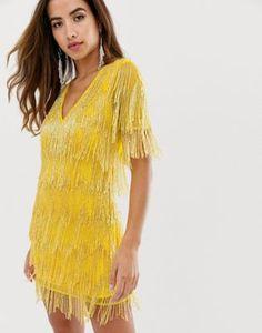 a395975b2dda ASOS DESIGN mini dress in all over fringe embellishment and short sleeve