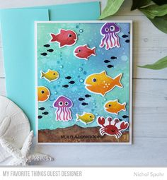 card sea critters creatures ocean jellyfish fish crab seaside summer MFT Ocean Fun Die-namics from Nichol Spohr featuring products from My Favorite Things Cricut Cards, Stampin Up Cards, Card Making Inspiration, Making Ideas, Beach Crafts For Kids, Nautical Cards, Beach Cards, Distress Oxide Ink, Mft Stamps