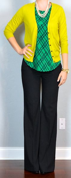 Outfit Posts: outfit post: green print top, mustard cardigan, black 'editor' pants