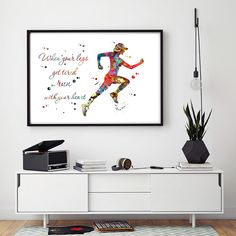 Female Runner watercolor print quote
