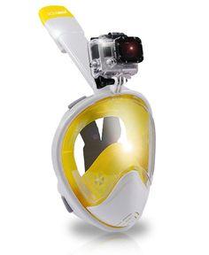 AquaMask – Full Face Snorkel Mask (White-Yellow)