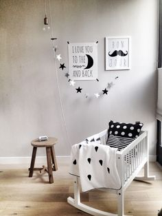 Black and White nursery inspiration Baby Bedroom, Baby Boy Rooms, Baby Boy Nurseries, Baby Cribs, Nursery Room, Kids Bedroom, Deer Nursery, Monochrome Nursery, White Nursery