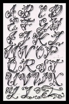 Cholo Tattoo Alphabet tattoo - tattoo quotes - tattoo fonts - watercolor tattooSource dog tattoo - t Alphabet A, Style Alphabet, Alphabet Graffiti, Tattoo Fonts Alphabet, Hand Lettering Alphabet, Tatto Letters, Fancy Fonts Alphabet, Grafitti Letters, Calligraphy Fonts Alphabet