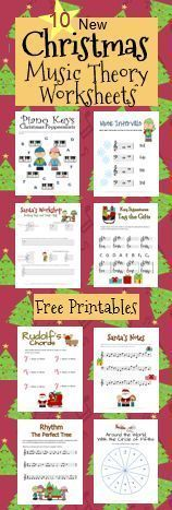 Awesome blog with 10 free printable Christmas music theory worksheets