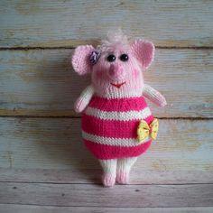 Toy Pig Pink Knitted Amigurumi Nursery Decor Best Friend Gift