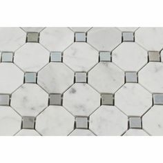 Carrara White Marble Honed Octagon Mosaic Tile w/ Blue-Gray Dots - American Tile Depot - Commercial and Residential (Interior & Exterior), Indoor, Outdoor, Shower, Backsplash, Bathroom, Kitchen, Deck & Patio, Decorative, Floor, Wall, Ceiling, Powder Room - 2