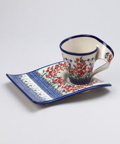 Take a look at this Red Floral Fala Cake Tray & Coffee Cup by Lidia's Polish Pottery on #zulily today!