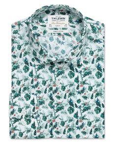 Stretch Slim Fit Green Hypertropical Print Shirt – Button Cuff | T.M.Lewin