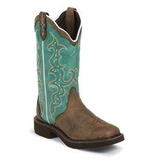 Justin Ladies Gypsy Teal/Barnwood Square Toe Boot L2904 New #Justin #CowboyWestern