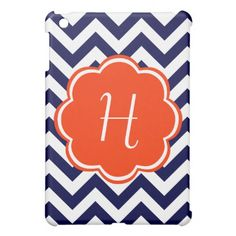 Navy Blue Chevron Monogram iPad Mini Cover