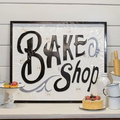 "How cute is our new vintage style ""Bake Shop"" sign?!  #Vintage #Bake #Shop #Bakery"