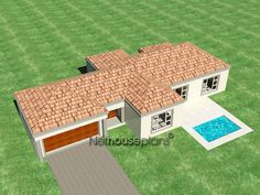 3 bedroom house plans with an open plan. Browse one story floor plans to modify or configure to suit your own taste. Quality South African home designs 6 Bedroom House Plans, 4 Bedroom House Designs, Garage House Plans, South African Homes, African House, Double Storey House Plans, House Plans South Africa, House Plans With Photos, Floor Layout
