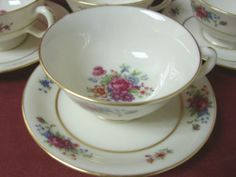 Lenox China Dinnerware Lenox Rose pattern # J300 Footed cup and saucer