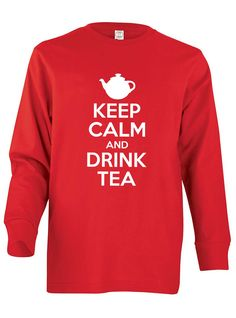 Youth's Keep Calm and Drink Tea Long Sleeve T-Shirt, X-Small, Black