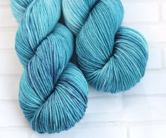 Nerida Blue - Bright Hand Dyed Yarn - Merino Cashmere Nylon - MCN - DK Yarn - 8 Ply - Light Worsted - Cashmere Yarn - Hand Dyed Yarn by ClementineAndThread on Etsy