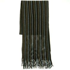 Acrylic Knit Stripe Muffler - Brown Blue W31S44D Brown Blue Acrylic Knit Stripe Muffler.  #Broner #Apparel