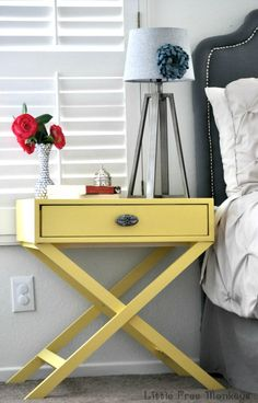 DIY X-leg Accent Table with free plans - Little Free Monkeys