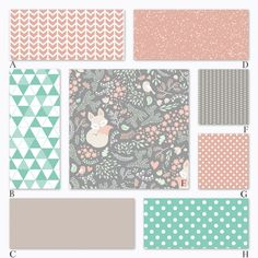 Girl Woodland Baby Crib Bedding in Peach Mint by RockyTopDesign