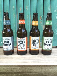 First Time Dad Beer Bottle Labels Gift for Daddy by PaprikaPaperie