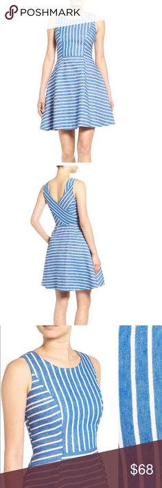 Vineyard Vines Stripe Fit & Flare Dress Laid-back yet sophisticated, this fit-and-flare dress is perfect for sailing trips or walking along the boardwalk. Crisp stripes and strategic seams flatter the figure, while a gently pleated skirt finishes the ever-versatile silhouette. Vineyard Vines Dresses
