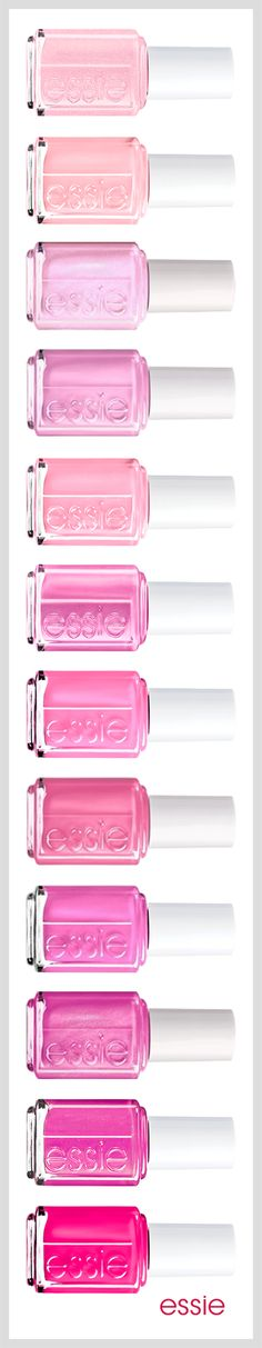 Pink Nail Lacquers, Nail Polish Color by Essie. Discover Essie pink nail lacquers in shocking or subtle, rose or carnation, magenta or bubble gum color for every occasion. Love Nails, Pink Nails, How To Do Nails, Pretty Nails, Pink Toes, Pink Polish, Essie Nail Polish, Nail Polish Colors, Nail Polishes