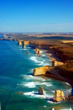Aerial view on Twelve Apostles, Great Ocean Road, Australia. The Great Ocean Roa , Victoria Australia, Great Barrier Reef, Beautiful Places To Visit, Beautiful Beaches, Places To Travel, Places To See, Places Around The World, Around The Worlds, Paradis