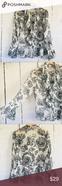 CAbi Ruffled Women's Long Sleeve Blouse Size Small This top is absolutely beautiful! It has a very cute paisley design and the ruffled front of the Blouse is super flattering. No trades or PayPal. Reasonable offers welcome! CAbi Tops Blouses