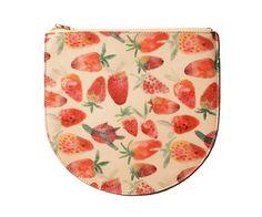 Big Strawberry Leather Zipper Clutch - Kindah Khalidy