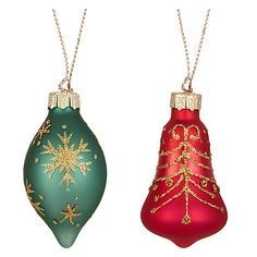Buy John Lewis Midwinter Vintage Glass Bells And Jewels Baubles, Pack of 12, Red and Green Online at johnlewis.com