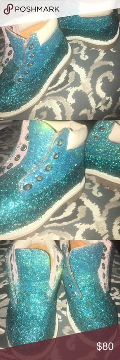 Two Tone Turquoise Glittered Timbs Toddler 7.5C Handmade Two Tone Turq/Aqua timbs with off-white trimming. Timbs are one of a kind design and extremely unique and trendy. Toddler size 7.5C. Timbs DO NOT come with laces. I suggest purchasing white ribbon from Michaels and lacing up as shoe laces, or purchase original Timb laces. These have never been worn - they were handmade as a gift but the individual received the gift too late so they were too small by then. I can also make custom orders…