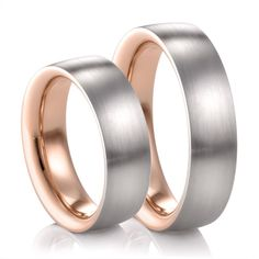 His & Hers Palladium & Red Gold Bands by COGE - $4490.00  The unique design of these matching rose gold and palladium wedding bands, allows the rose gold to be visible from the side of the band while still on your finger. Simply Stunning!