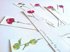 """Bookmarks - """"Red Peonies"""" - Illustration - Art - Reading accessories - Set of 7"""