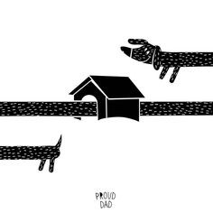 Cute #dachshund 🐕 dog illustration and his black and white house drawing 🏡 by Proud Dad